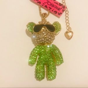 Green Crystal Bear with Sunglasses Necklace